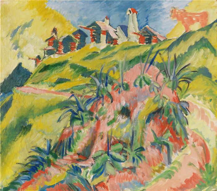 恩斯特·路德维希·基希纳(Ernst Ludwig Kirchner,德国画家)作品-有粉红奶牛的山村(191919)