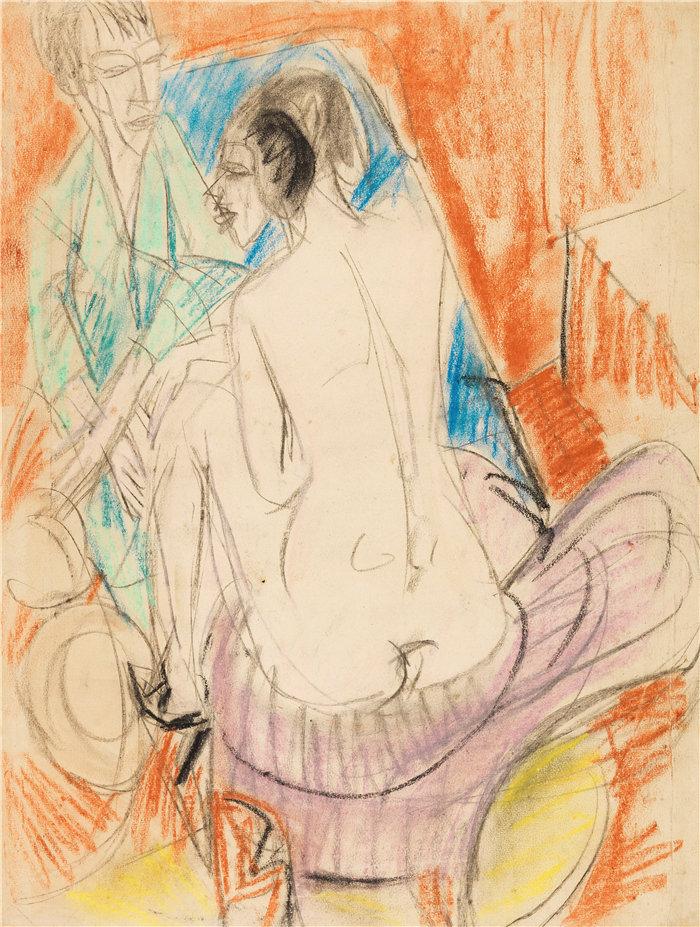 恩斯特·路德维希·基希纳(Ernst Ludwig Kirchner,德国画家)作品-与格尔达的自画像(1915年)