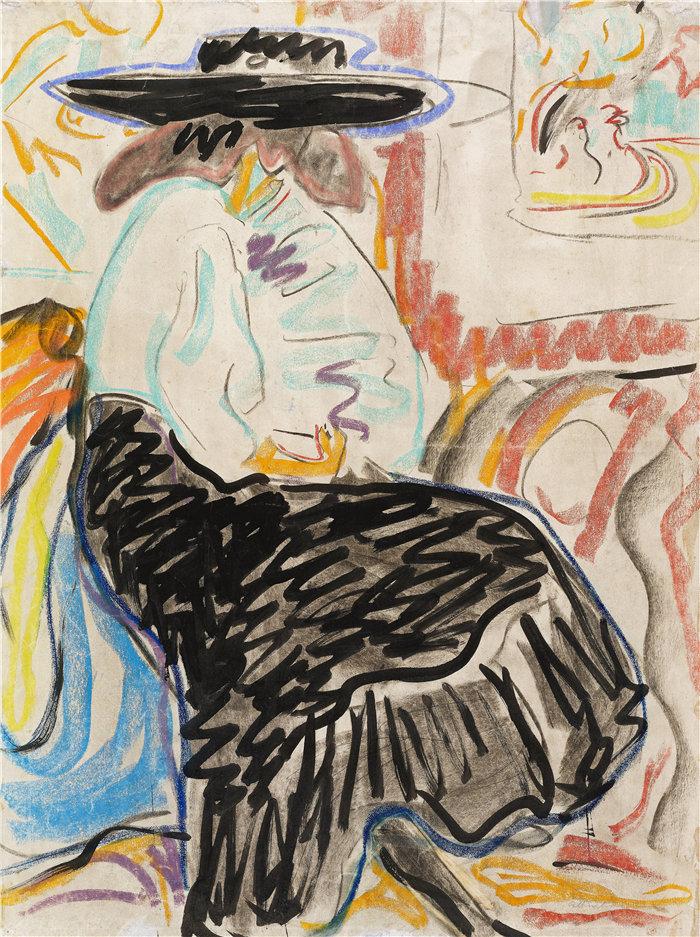 恩斯特·路德维希·基希纳(Ernst Ludwig Kirchner,德国画家)作品-工作室里的坐着的女人(1909)