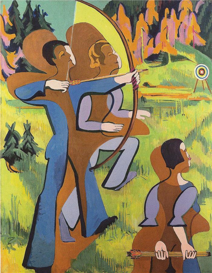 恩斯特·路德维希·基希纳(Ernst Ludwig Kirchner,德国画家)作品-弓箭手(1935 - 1937)