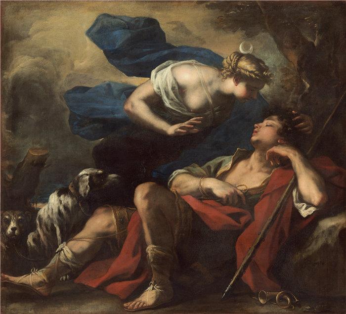 卢卡·佐丹奴 (Luca Giordano,意大利画家) 作品-戴安娜和恩底弥翁 (C. 1675-1680)