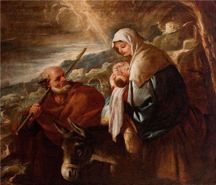 卢卡·佐丹奴 (Luca Giordano,意大利画家) 作品-飞往埃及(1690 -1705)