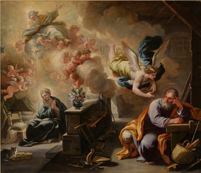 卢卡·佐丹奴 (Luca Giordano,意大利画家) 作品-圣约瑟夫之梦(1700)