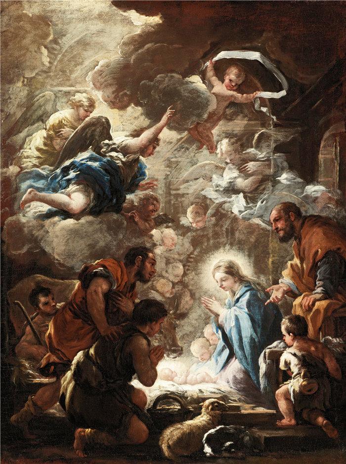 卢卡·佐丹奴 (Luca Giordano,意大利画家) 作品-牧羊人的崇拜(约 1690-1691)