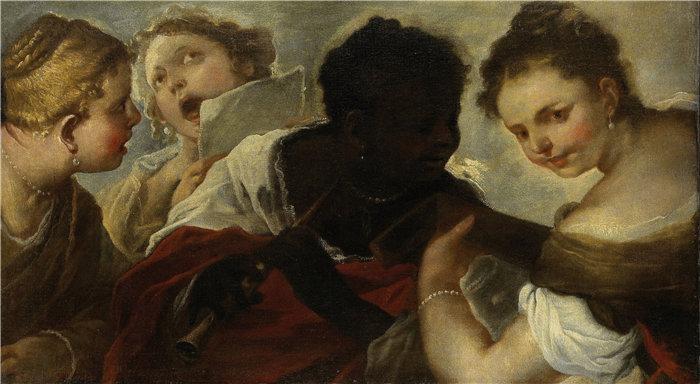 卢卡·佐丹奴 (Luca Giordano,意大利画家) 作品-四个女人做音乐(1658 - 1660)