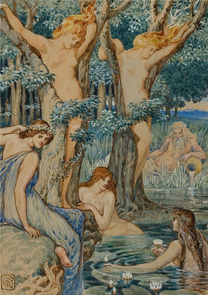 沃尔特·克兰 (Walter Crane,英国画家) 作品 -Nyads 和树妖