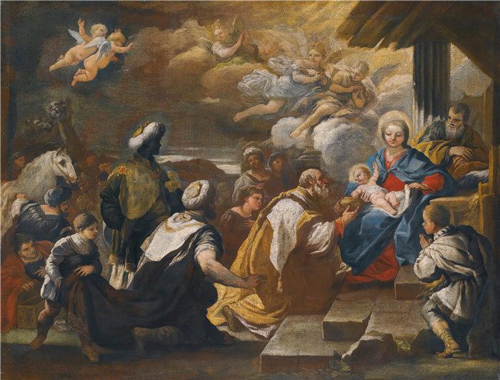 卢卡·佐丹奴 (Luca Giordano,意大利画家) 作品-魔法师的崇拜(1)