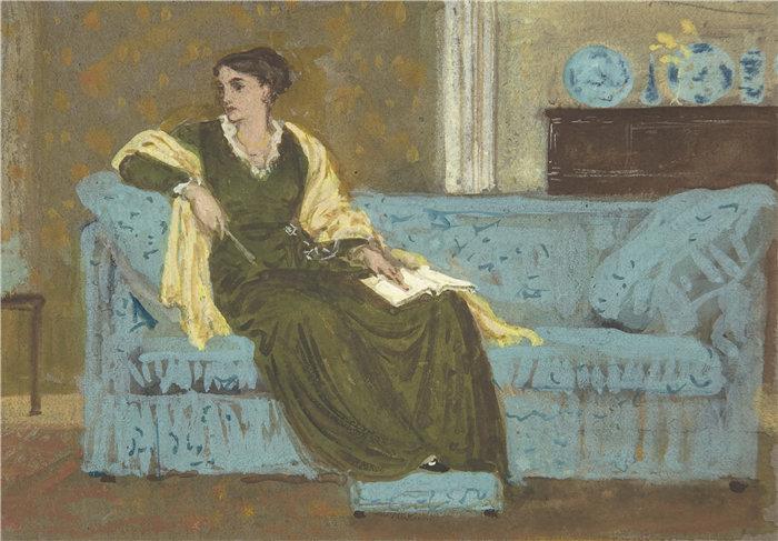 沃尔特·克兰 (Walter Crane,英国画家) 作品 -坐在沙发上的女人(1865-1915)