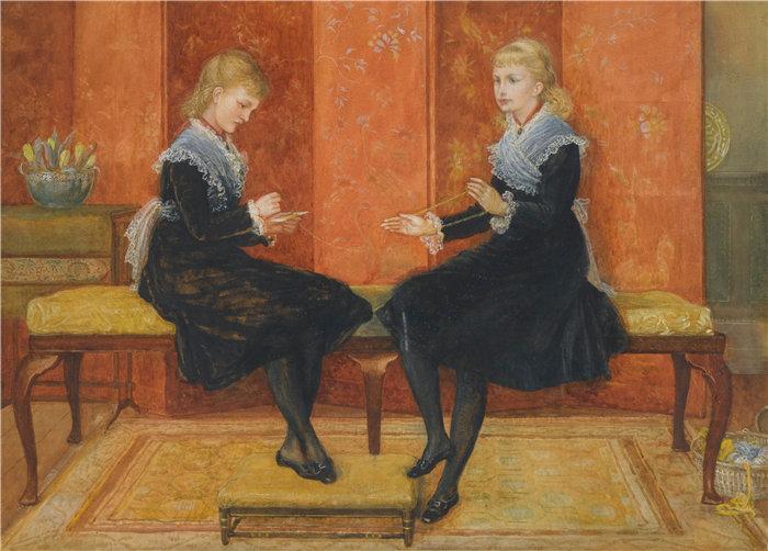 沃尔特·克兰 (Walter Crane,英国画家) 作品 -紫罗兰和莉莉,埃德蒙·劳特利奇的女儿们