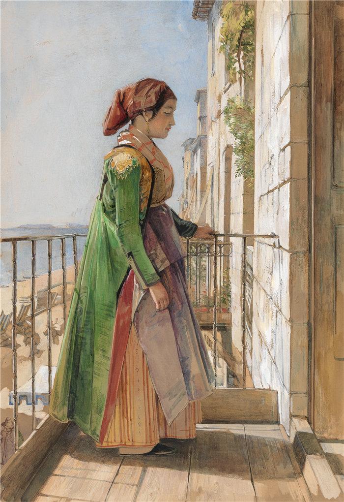 约翰·弗雷德里克·刘易斯(John Frederick Lewis英国画家)作品-站在阳台上的希腊女孩 1840