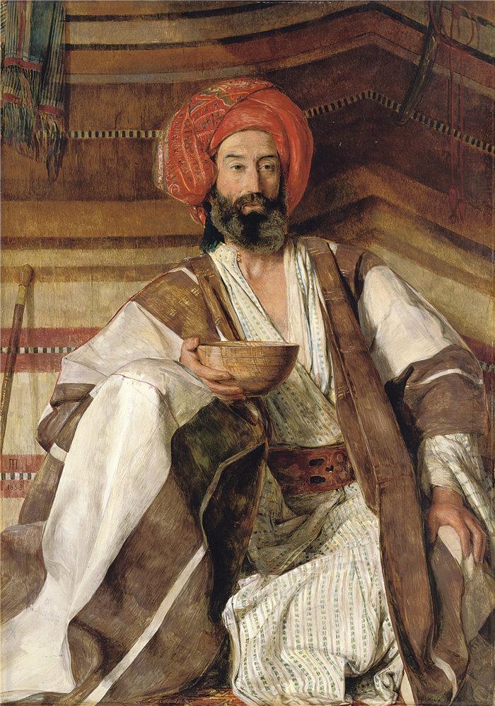 约翰·弗雷德里克·刘易斯(John Frederick Lewis英国画家)作品-西奈沙漠的阿拉伯人 (1858)
