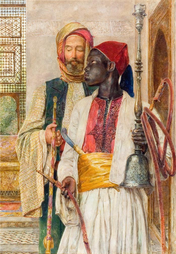 约翰·弗雷德里克·刘易斯(John Frederick Lewis英国画家)作品-管道承载者 (1856)