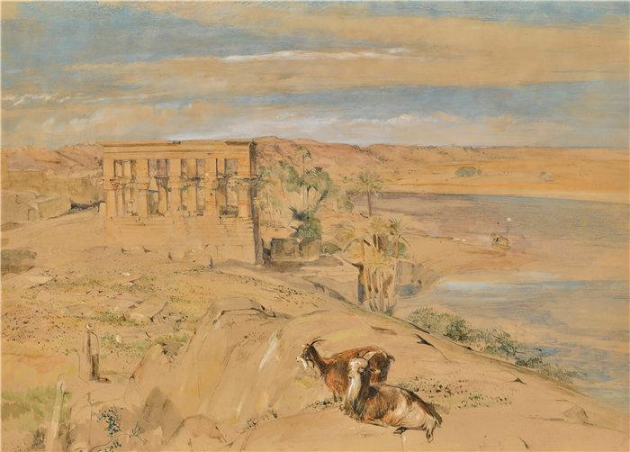 约翰·弗雷德里克·刘易斯(John Frederick Lewis英国画家)作品-上埃及菲莱的 Hypaethral 神庙