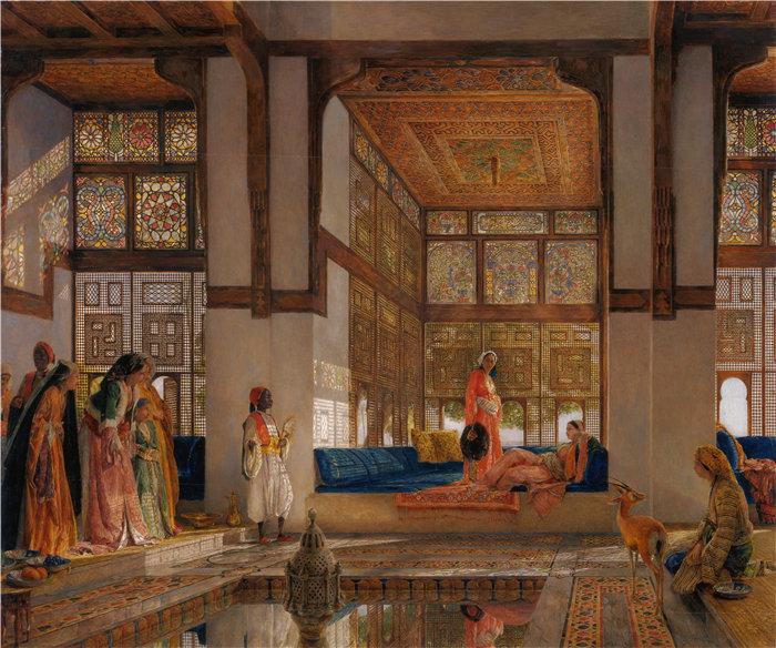 约翰·弗雷德里克·刘易斯(John Frederick Lewis英国画家)作品-接待访客的女士(接待处)(1873)