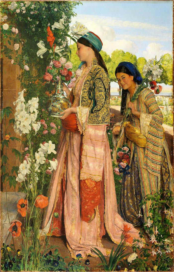 约翰·弗雷德里克·刘易斯(John Frederick Lewis英国画家)作品-金百合 (1871)