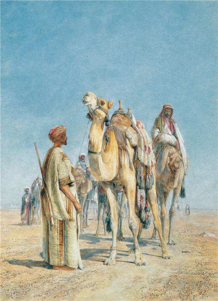 约翰·弗雷德里克·刘易斯(John Frederick Lewis英国画家)作品-在沙漠中停下来