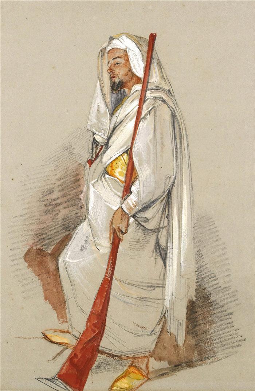 约翰·弗雷德里克·刘易斯(John Frederick Lewis英国画家)作品-研究一个穿着北非服饰的男人