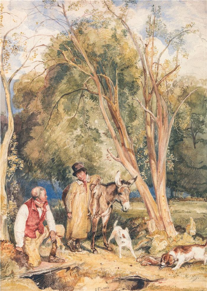 约翰·弗雷德里克·刘易斯(John Frederick Lewis英国画家)作品-游戏管理员和男孩抓兔子
