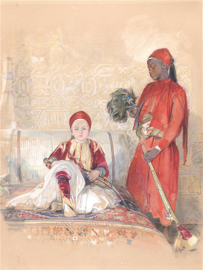 约翰·弗雷德里克·刘易斯(John Frederick Lewis英国画家)作品-伊斯坎德尔·贝和他的仆人(约 1848 年)