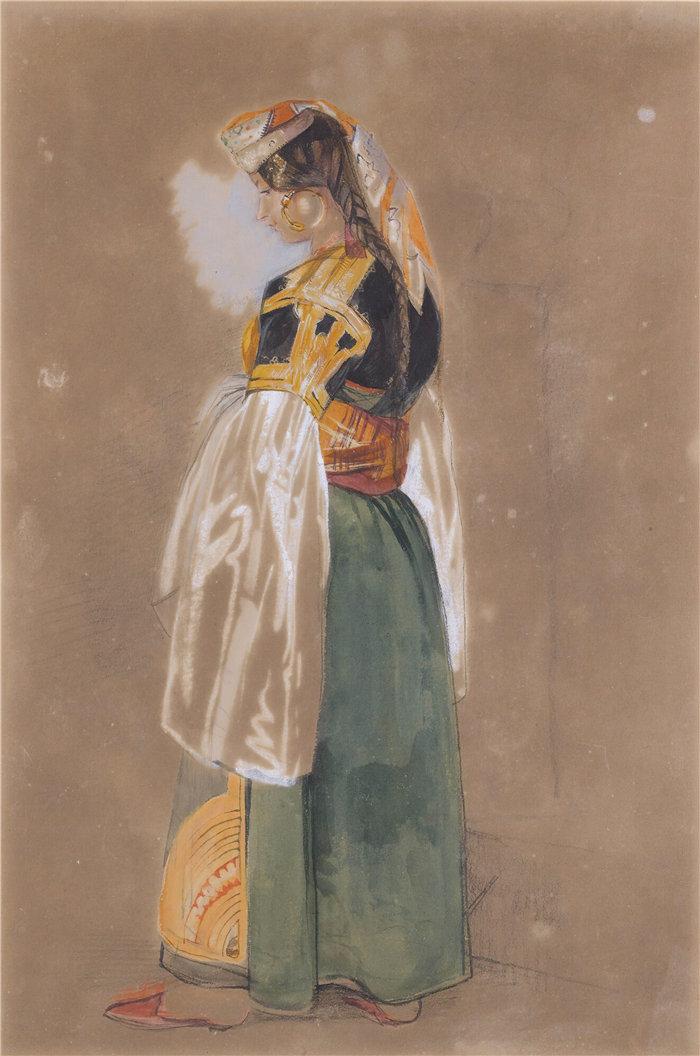 约翰·弗雷德里克·刘易斯(John Frederick Lewis英国画家)作品-直布罗陀或丹吉尔的犹太妇女