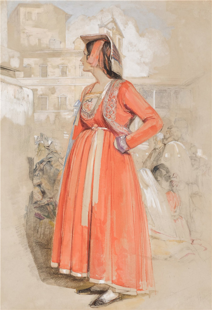约翰·弗雷德里克·刘易斯(John Frederick Lewis英国画家)作品-研究罗马一位年轻的那不勒斯妇女