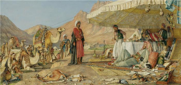 约翰·弗雷德里克·刘易斯(John Frederick Lewis英国画家)作品-西奈山沙漠中的弗兰克营地,1842 (1862)