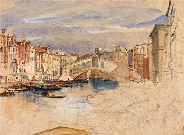 约翰·弗雷德里克·刘易斯(John Frederick Lewis英国画家)作品-威尼斯大运河和里亚托 (1838)