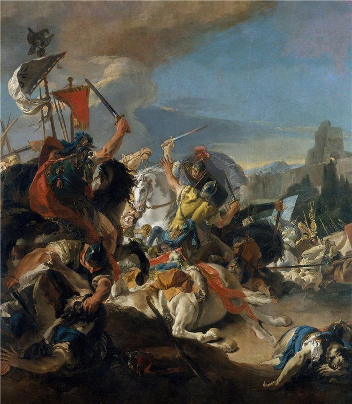 乔瓦尼·巴蒂斯塔·提埃波罗(Giovanni Battista Tiepolo,意大利画家)作品-韦尔塞莱战役(1725–29)