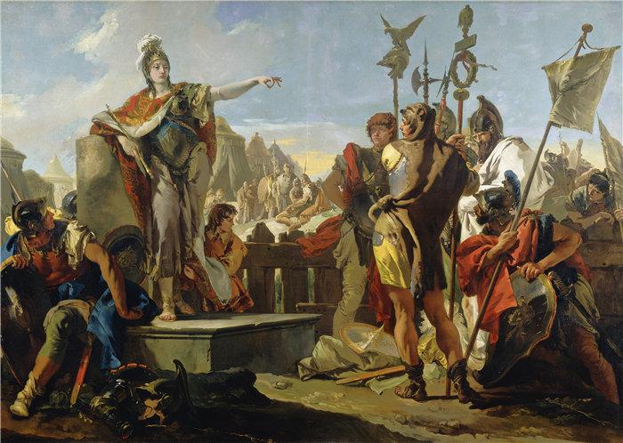 乔瓦尼·巴蒂斯塔·提埃波罗(Giovanni Battista Tiepolo,意大利画家)作品-芝诺比亚王后向她的士兵讲话(1725-1730)