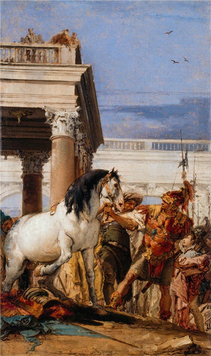 乔瓦尼·巴蒂斯塔·提埃波罗(Giovanni Battista Tiepolo,意大利画家)作品-亚历山大和布塞法勒斯 (1757-1760)