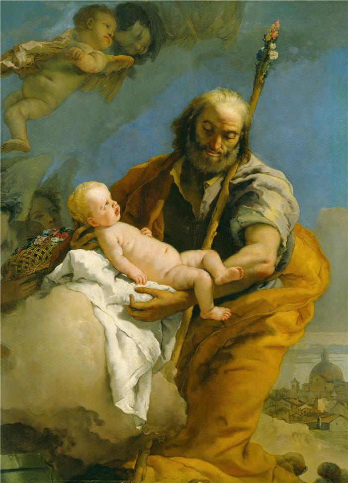 乔瓦尼·巴蒂斯塔·提埃波罗(Giovanni Battista Tiepolo,意大利画家)作品-圣约瑟夫和基督之子(1767 年至 1769 年)
