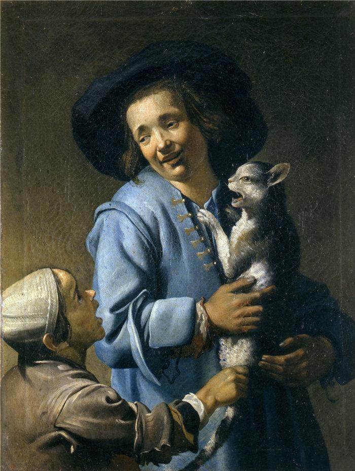 亚伯拉罕·布洛马特(Abraham Bloemaert,荷兰画家)作品-青少年与猫玩耍