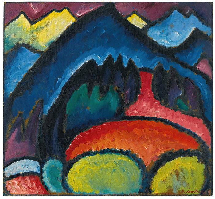 阿列克谢·冯·贾伦斯基(Alexej von Jawlensky,俄罗斯画家)作品-奥伯斯特多夫(山脉)(1912)