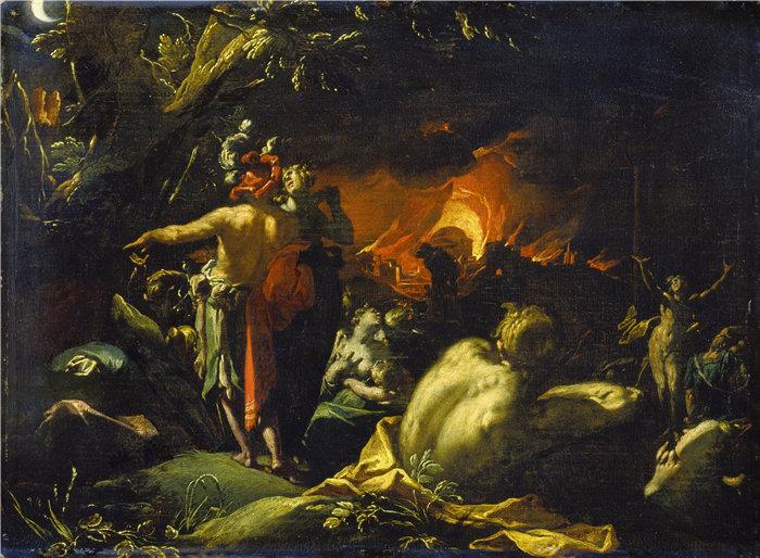 亚伯拉罕·布洛马特(Abraham Bloemaert,荷兰画家)作品-特洛伊之火(约 1593 年)