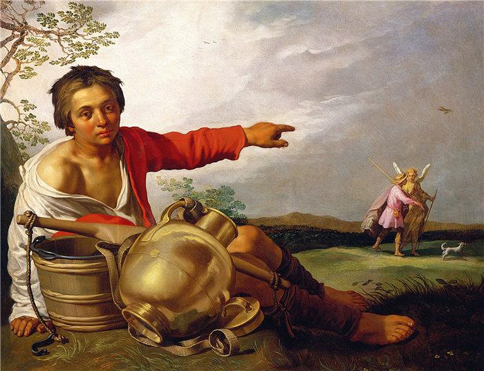 亚伯拉罕·布洛马特(Abraham Bloemaert,荷兰画家)作品-牧童指着托比亚斯和天使(约 1625–30 年)