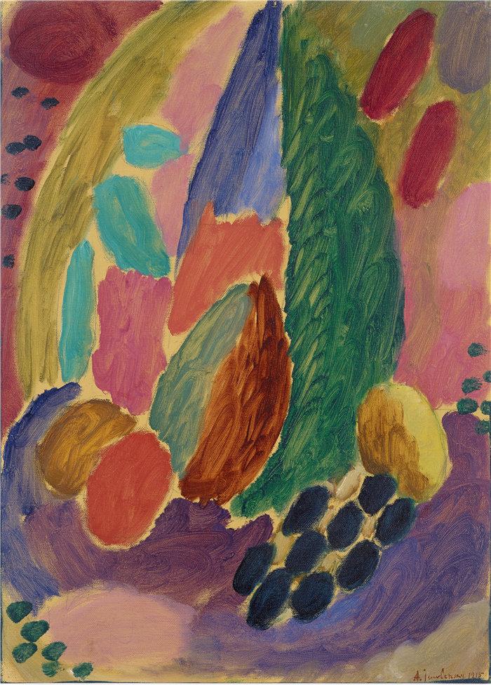 阿列克谢·冯·贾伦斯基(Alexej von Jawlensky,俄罗斯画家)作品-大变化 (1915)