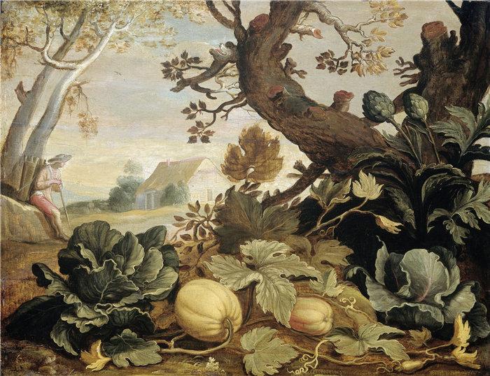 亚伯拉罕·布洛马特(Abraham Bloemaert,荷兰画家)作品-前景中有水果和蔬菜的风景(1600 - 1651)