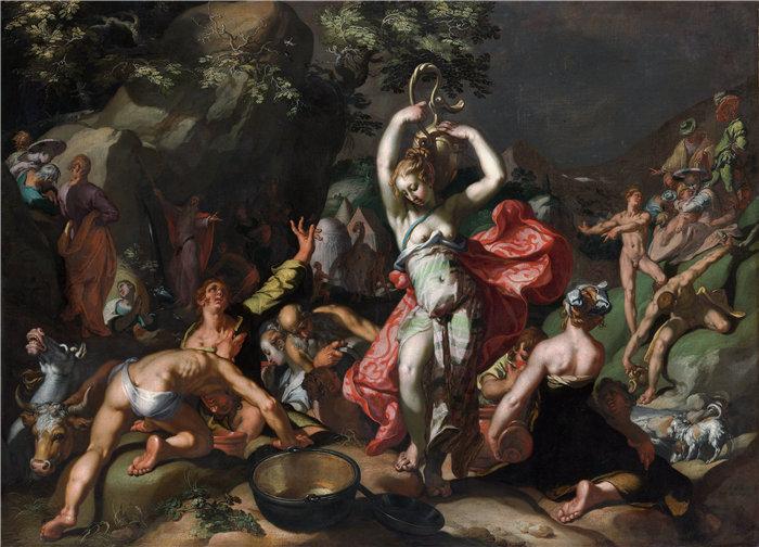 亚伯拉罕·布洛马特(Abraham Bloemaert,荷兰画家)作品-摩西击打磐石 (1596)