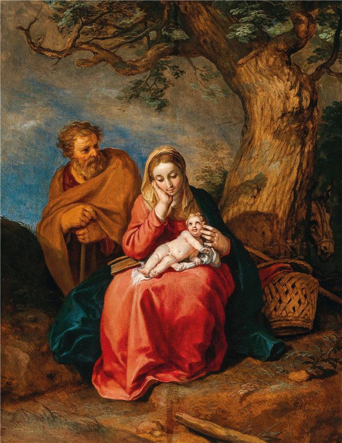 亚伯拉罕·布洛马特(Abraham Bloemaert,荷兰画家)作品-逃往埃及的其余人(1646 年)