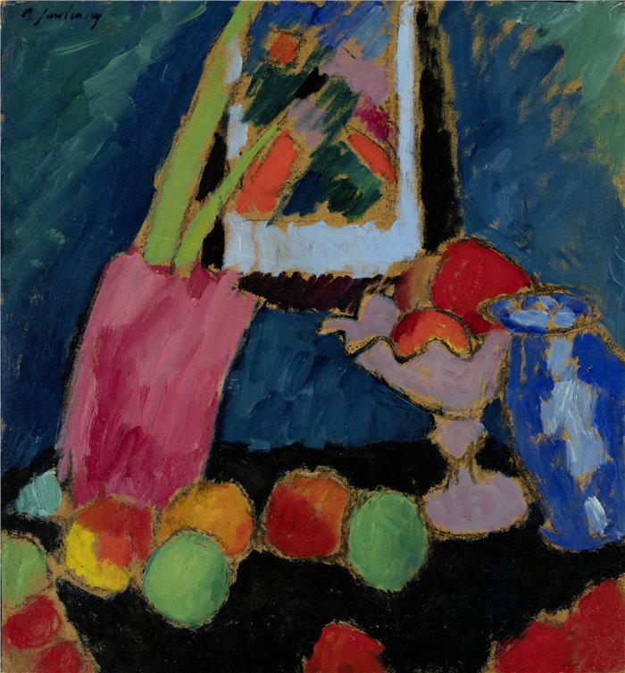 阿列克谢·冯·贾伦斯基(Alexej von Jawlensky,俄罗斯画家)作品-紫碗静物 (1912)
