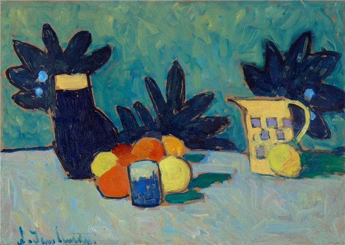 阿列克谢·冯·贾伦斯基(Alexej von Jawlensky,俄罗斯画家)作品-水果静物(1910)