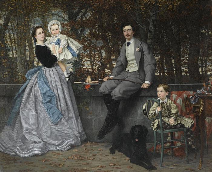 詹姆斯·天梭(James Tissot,法国画家)作品- 米拉蒙侯爵和侯爵夫人及其子女的肖像