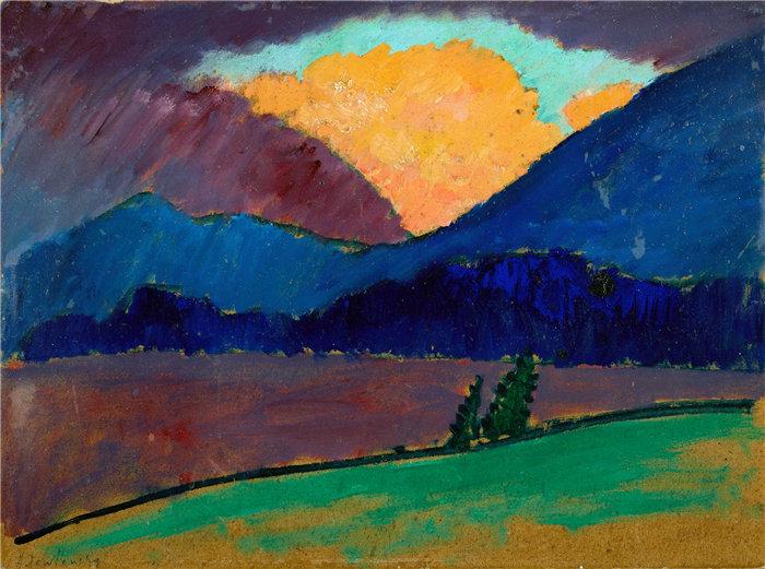 阿列克谢·冯·贾伦斯基(Alexej von Jawlensky,俄罗斯画家)作品-穆尔瑙的夏夜(1908-1909)