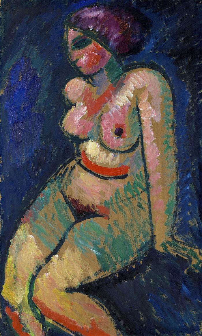 阿列克谢·冯·贾伦斯基(Alexej von Jawlensky,俄罗斯画家)作品-坐着的女性裸体(1910)