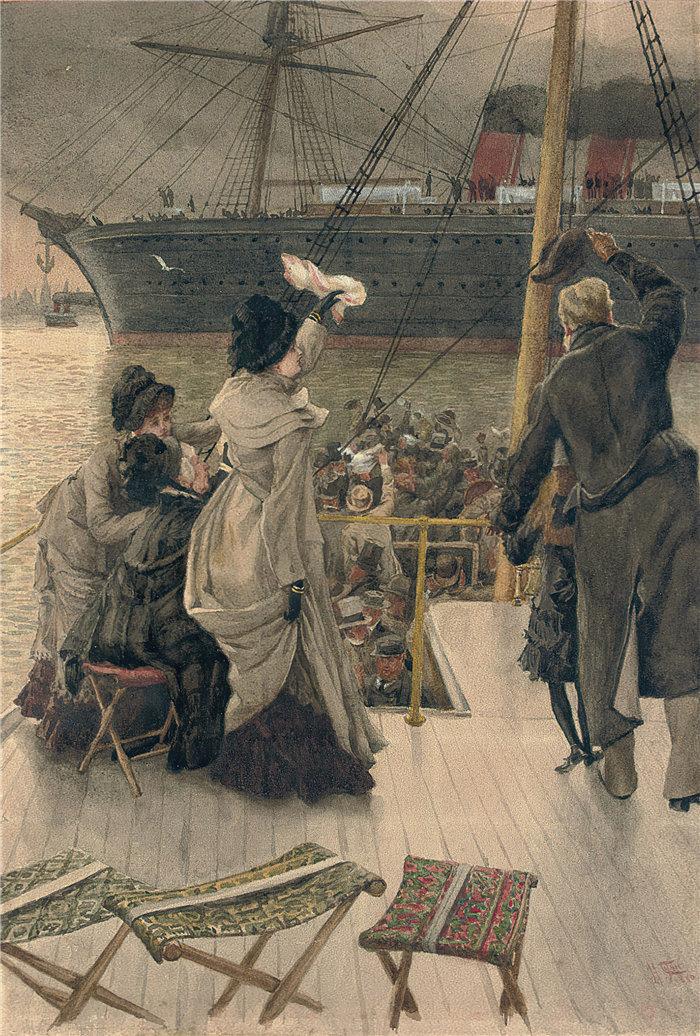 詹姆斯·天梭(James Tissot,法国画家)作品-再见,在默西 (1880)