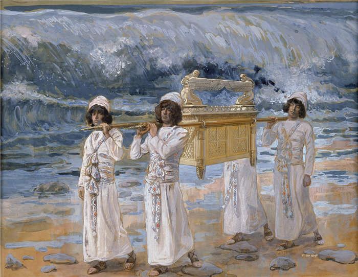 詹姆斯·天梭(James Tissot,法国画家)作品-方舟越过约旦河(约 1896-1902 年)