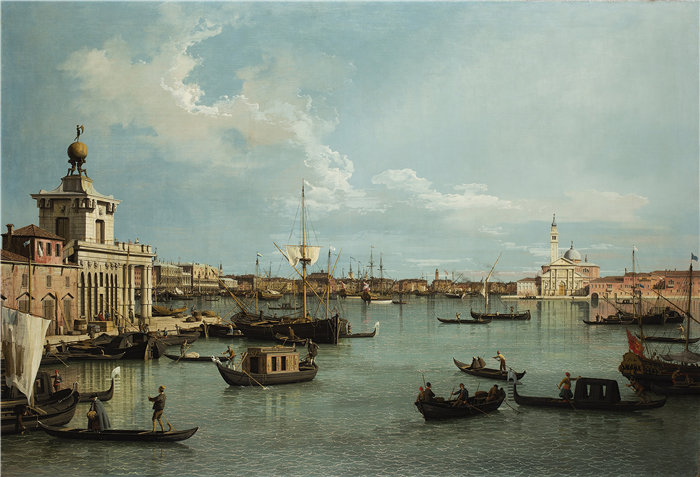 卡纳莱托 (Canaletto,意大利画家)作品-威尼斯,来自 Canale della Giudecca 的 Bacino di San Marco(约 1735 - 1744)