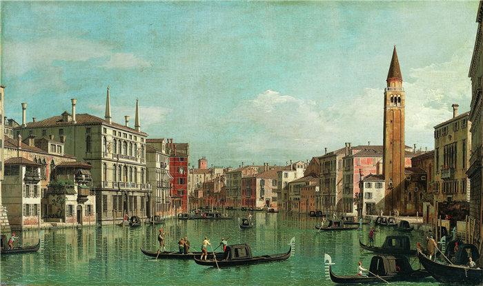卡纳莱托 (Canaletto,意大利画家)作品-大运河,威尼斯,向东南看,右边是 Campo della Carità(1730 年代)