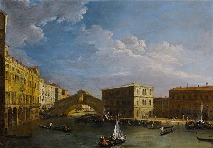 卡纳莱托 (Canaletto,意大利画家)作品-威尼斯,从北方看大运河和里亚托桥