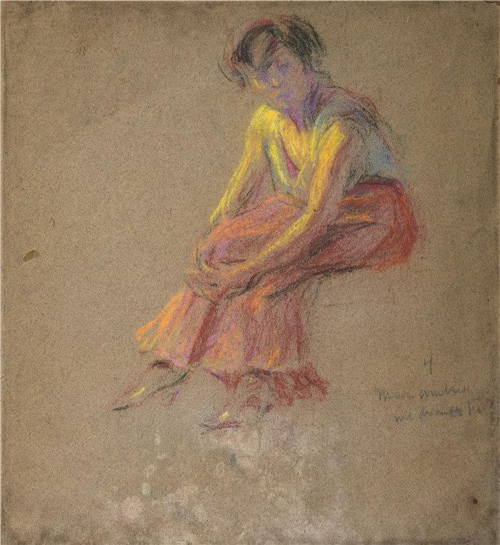 爱丽丝·派克·巴尼 (Alice Pike Barney,美国画家)作品-坐着的女人(1857-1931)